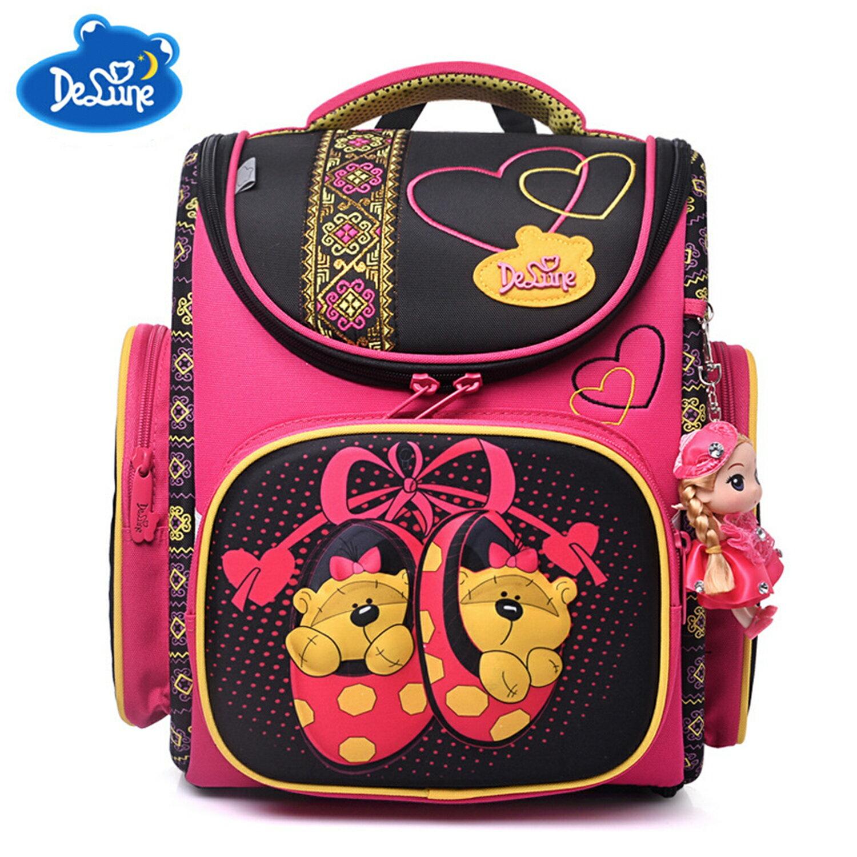 【Delune】【俄羅斯品牌護脊書包】【女童書包】玫黃布熊 A3-142