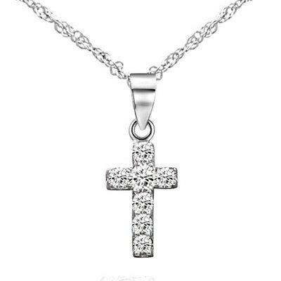 925純銀項鍊 鑲鑽吊墜~ 簡約十字架 母親節情人節生日 女飾品73dk107~ ~~米蘭
