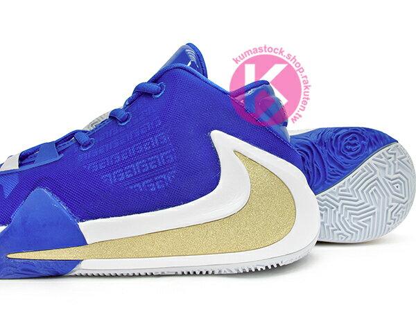 2019 最新款 Giannis Antetokounmpo 首款簽名籃球鞋 NIKE FREAK 1 GS GREECE 大童鞋 女鞋 藍白金 希臘 字母哥 MVP 公鹿隊 (BQ5633-400) 1019 3