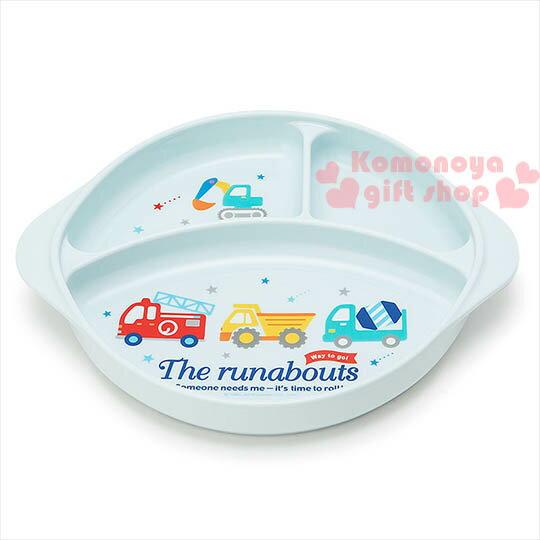 〔小禮堂〕RB工程車 日製雙耳塑膠餐盤《藍.3格.多款車.星星》