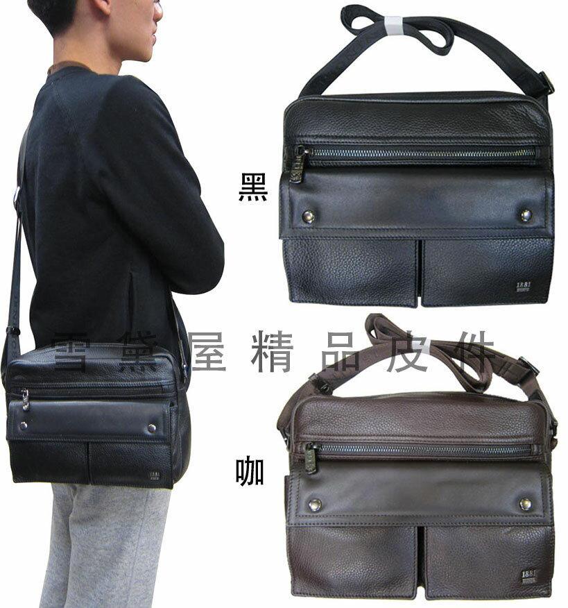 <br/><br/>  ~雪黛屋~18NINO81 美國大容量二層主袋肩側包100%進口牛皮二層主袋紳士斜側包隨身品萬用YNI35-12285<br/><br/>