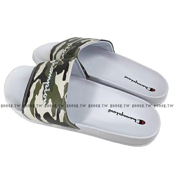 Shoestw【913250270】CHAMPION 拖鞋 運動拖鞋 綠白迷彩 男女尺寸都有 3