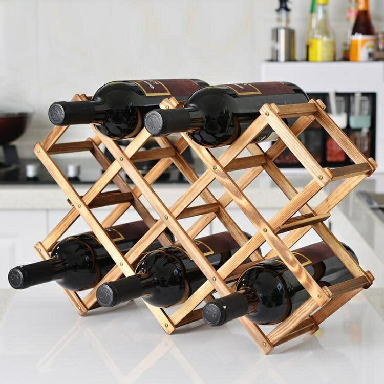 【快速出貨】歐式實木紅酒架擺件創意葡萄酒架實木展示架家用酒瓶架客廳酒架子 七色堇 新年春節  送禮