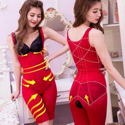 【伊黛爾】優雅舒適U型連身雕塑衣 - 鮮豔紅