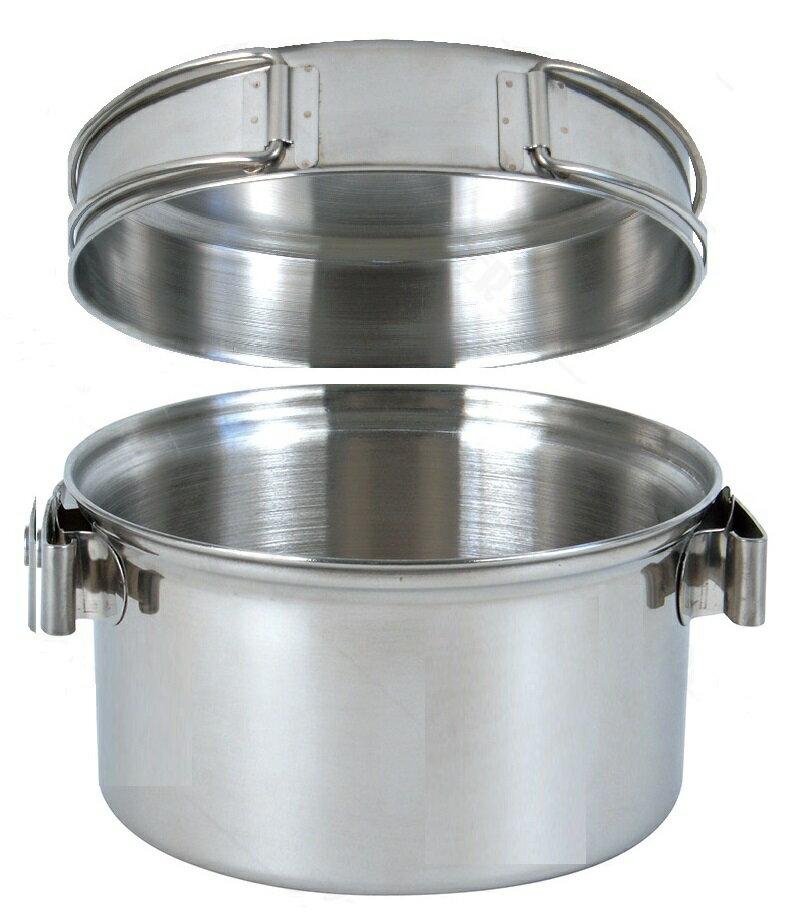 【露營趣】中和 附D型扣 犀牛 RHINO KS-12 1-2人不銹鋼輕便套鍋 湯鍋 不鏽鋼煎盤 平底鍋 304