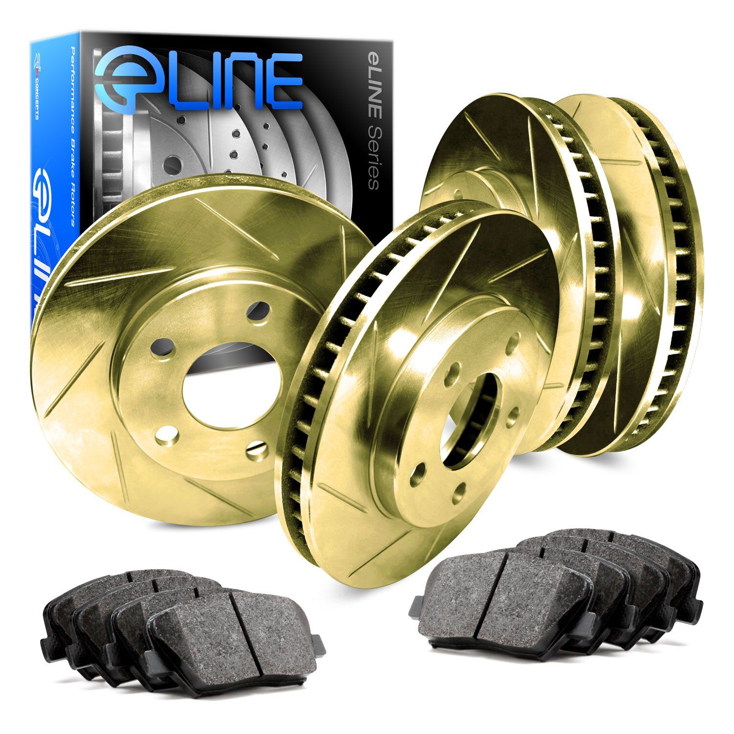 Black Drilled Slotted Brake Rotors /& Ceramic Pads CBC.4413902 COMPLETE KIT