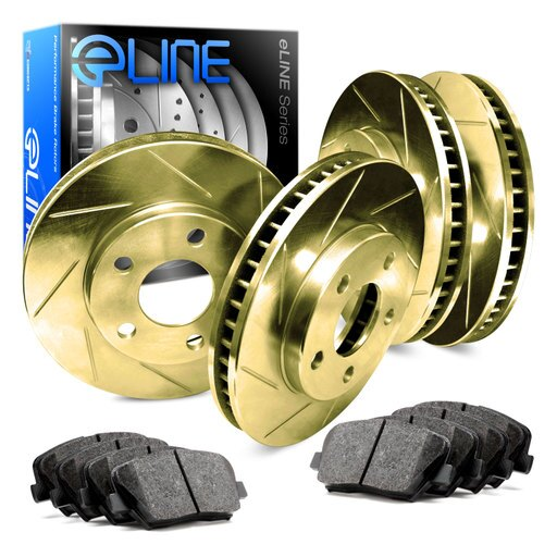 Front and Rear Gold Slotted Brake Disc Rotors & Ceramic Brake Pads 300,Charger e1d6b54429c5afb6fe6d125849c45050