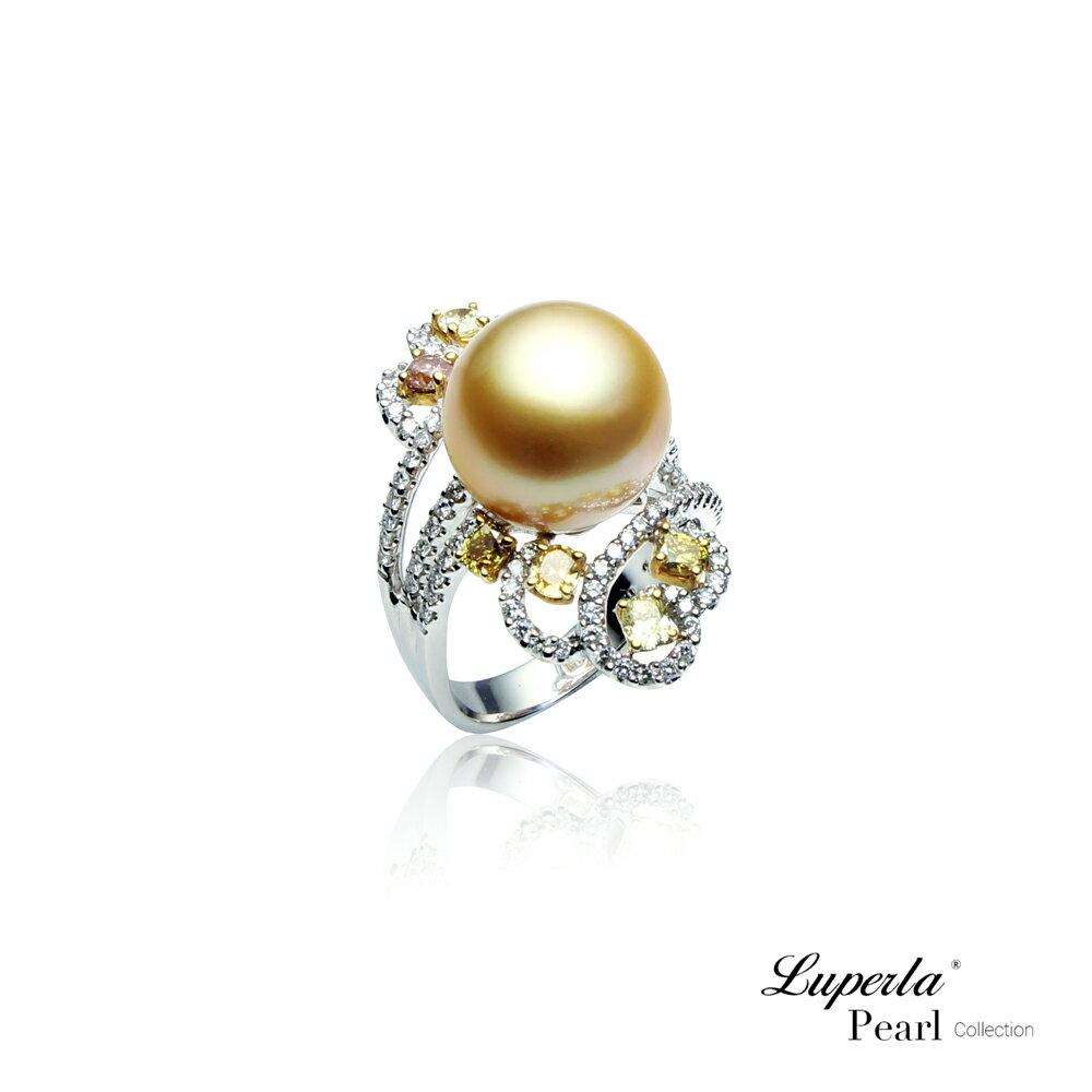 大東山珠寶 燦爛月光 頂級真鑽18K白金南洋金珍珠戒指 1