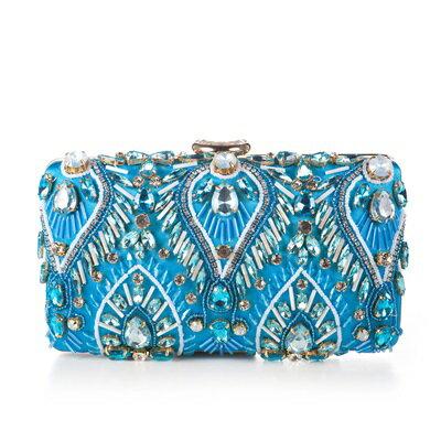 晚宴包鑲鑽手拿包-時尚精美手工繡珠女包包2色73su24【獨家進口】【米蘭精品】