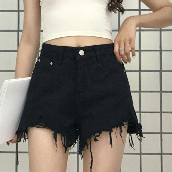 糖衣子輕鬆購【GH9958】韓版時尚百搭顯瘦毛邊鬚鬚熱褲短褲牛仔褲