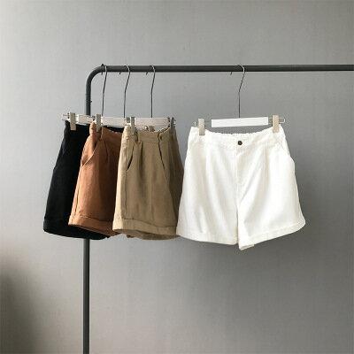 韓系女裝高腰顯瘦闊腿牛仔短褲樂天時尚館。預購。[全店免運]