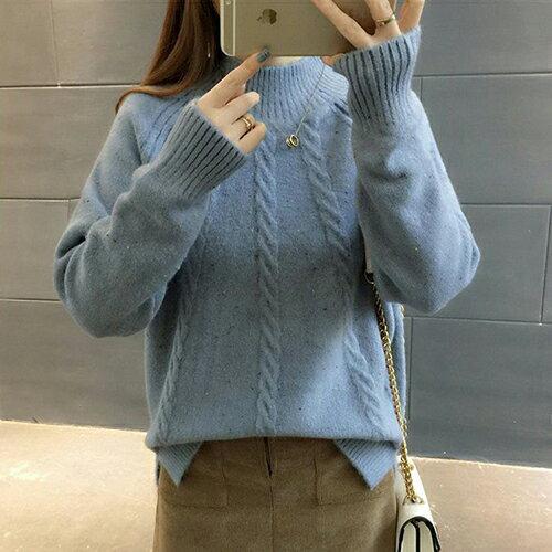 韓版寬鬆半高領毛衣加厚針織衫(3色F碼)*ORead* 2