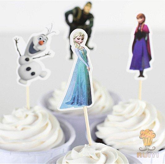 =優 =冰雪奇緣安娜 愛紗 雪寶 烘焙蛋糕插牌 插籤 插旗 兒童生日派對裝飾用品 蛋糕插旗