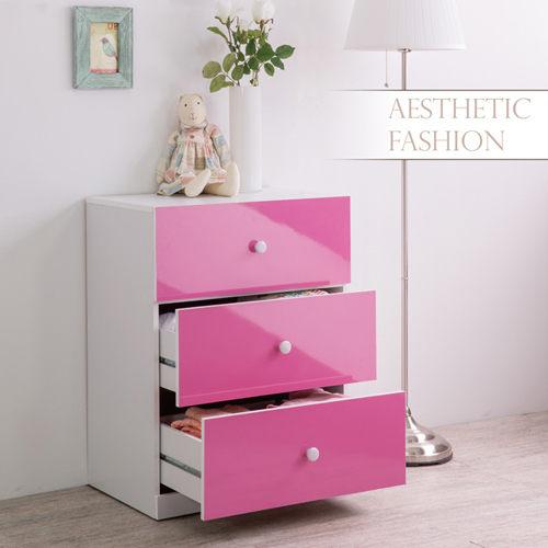 收納/衣櫥/衣物櫃/置物櫃/衣櫃/斗櫃 TZUMii花漾鏡面三抽斗櫃-粉紅色