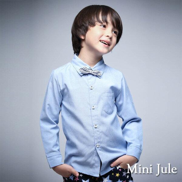 《Mini Jule 童裝》襯衫 純色條紋領結單口袋長袖襯衫(藍)
