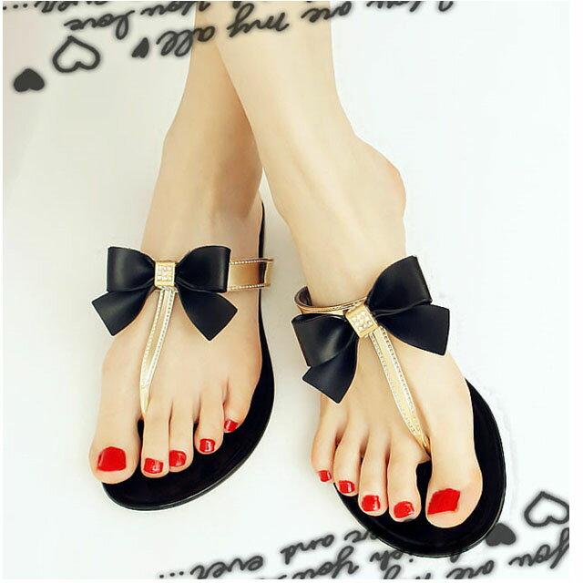鑽石拖鞋  與你   韓國 蝴蝶结鑽石人字 海灘拖鞋 果凍拖鞋