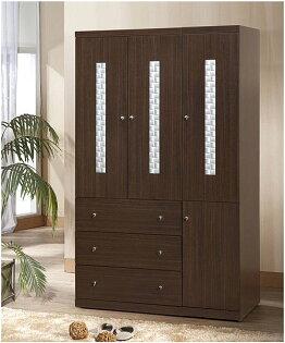 【尚品傢俱】791-05洛德胡桃4*7尺推門衣櫃收納櫃