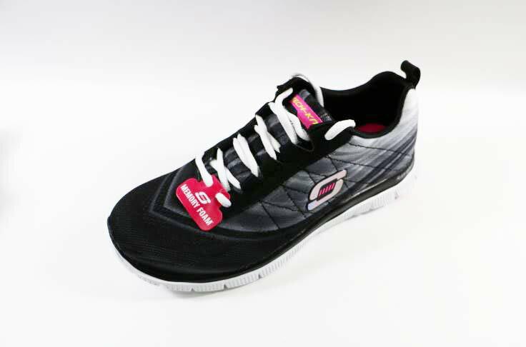 [陽光樂活]零碼SKECHERS (女) 運動系列 Flex Appeal 記憶型鞋墊 -12067BKW (漸層黑灰)