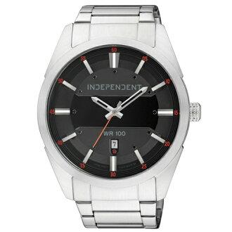 CITIZEN 星辰錶 INDEPENDENT IB5-314-51 分秒之差日期時尚腕錶(銀黑)
