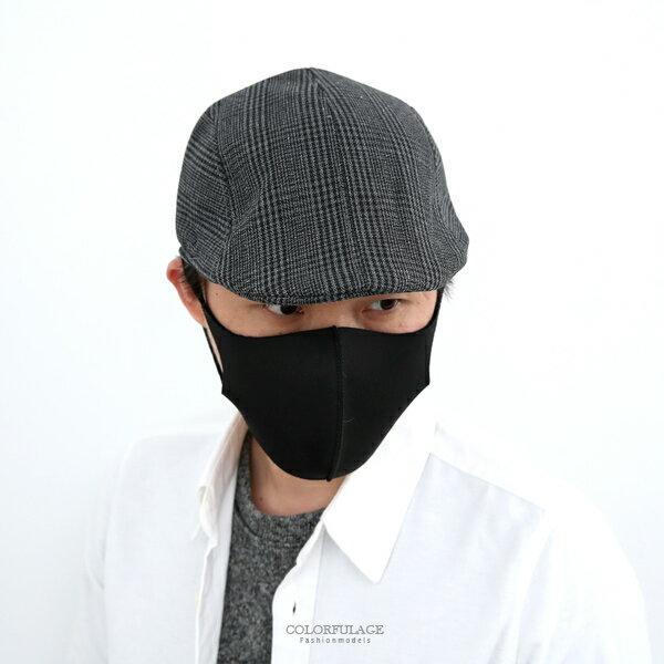 鴨舌帽黑灰千鳥格紋扁帽小偷帽貝蕾帽【NH288】透氣舒適