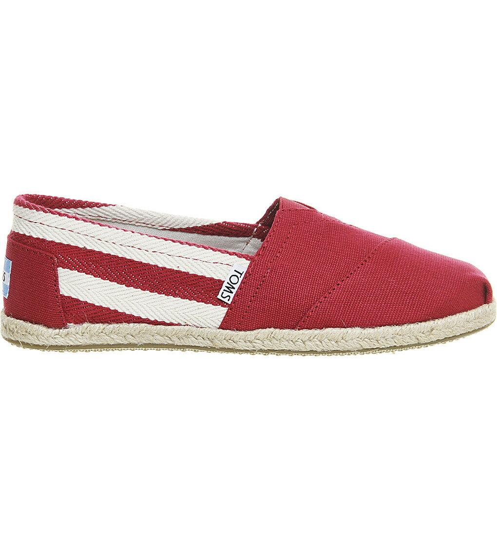 全店點數20倍│【TOMS】紅色寬條紋學院風平底鞋  Red Stripe University Women's Classics 2