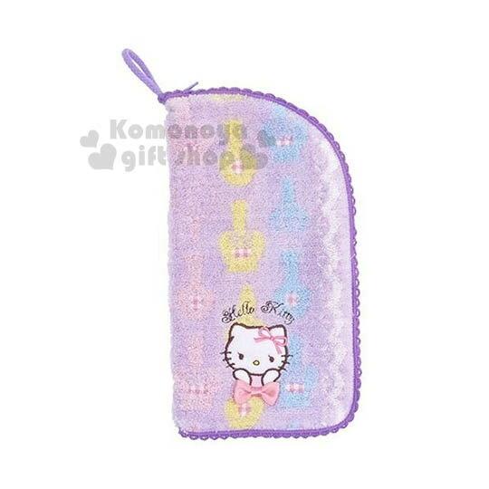 〔小禮堂〕Hello Kitty 多功能毛巾布水壺袋《紫.雙手摸下巴》可裝500ml水瓶