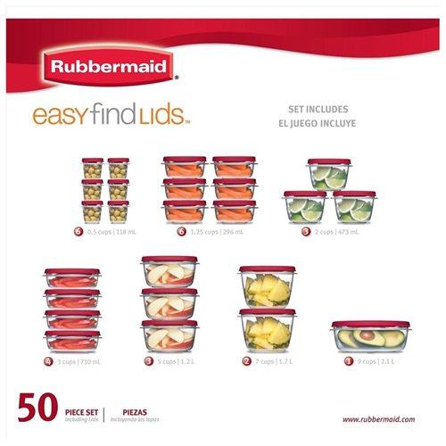 Rubbermaid 50 Piece Easy Find Lids Food Storage Set 2