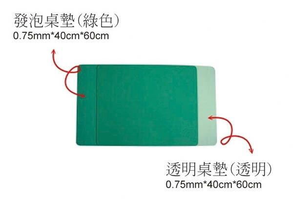 0502 學生 透明桌墊 0.75mm x 40cm x 60cm / 片 (不包含綠色發泡桌墊)