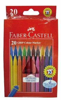 FABER-CASTELL 輝柏 155320 握得住抗壓三角筆桿彩色筆-20色 / 盒