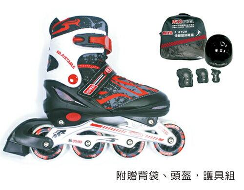 成功SUCCESS S0420 休閒教學專用~鋁合金伸縮溜冰鞋組-紅黑色 / 組