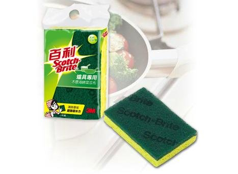 3M 420T 百利天然木漿棉菜瓜布 爐具專用好握型 (1片裝) / 包