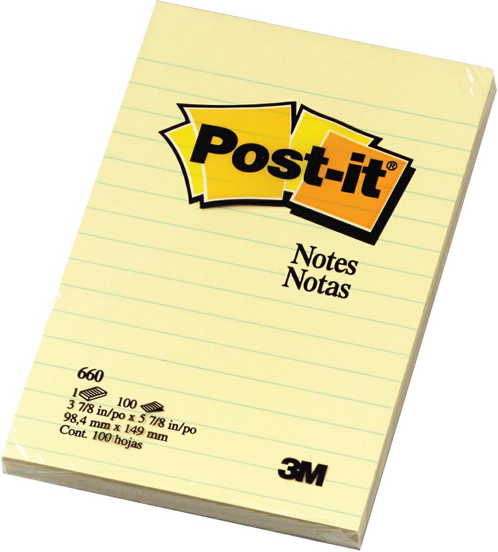 【3M】660 利貼 可再貼便條紙系列 黃(橫格) 100張/本