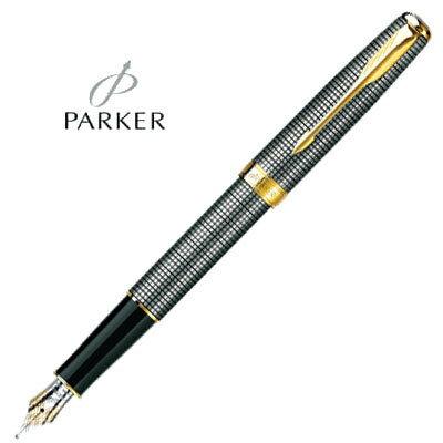 PARKER 派克 SONNER/商籟尊貴系列 P0808110 純銀格金夾鋼筆 F尖 / 支