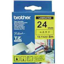 【兄弟】brother 24mm 可彎曲TZ-FX251護貝標籤帶〈白底黑字〉