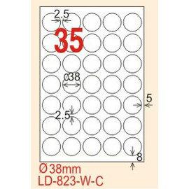 ~龍德~ LD~823 圓形~可再貼  雷射、噴墨、影印三用電腦標籤 38mm圓 20大張