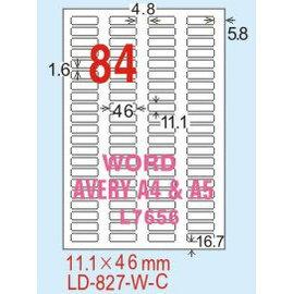 ~龍德~ LD~827^(圓角~五色^) 雷射、噴墨、影印三用電腦標籤 11.1x46mm