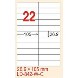 ~龍德~ LD~842^(直角~可再貼^) 雷射、噴墨、影印三用電腦標籤 26.9x105
