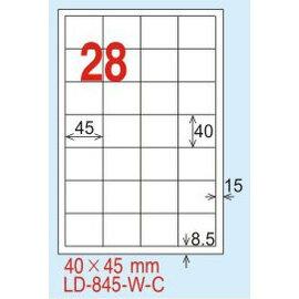 ~龍德~ LD~845^(直角~可再貼^) 雷射、噴墨、影印三用電腦標籤 40x45mm
