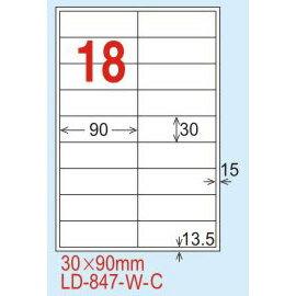 ~龍德~LD~847^(直角~五色^) 雷射、噴墨、影印三用電腦標籤 30x90mm 20