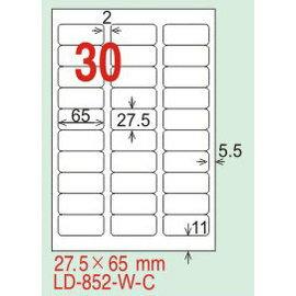 【龍德】LD-852(圓角-白色) 雷射、噴墨、影印三用電腦標籤 27.5x65mm 20大張/包