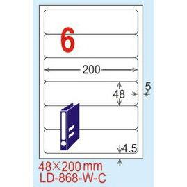 ~龍德~LD~868 圓角~五色  雷射、噴墨、影印三用電腦標籤 48x200mm 20大