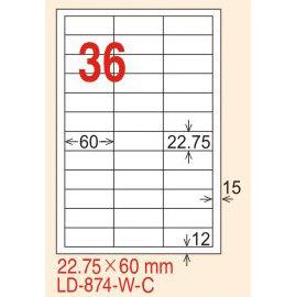~龍德~LD~874 直角~可再貼  雷射、噴墨、影印三用電腦標籤 22.75x60mm