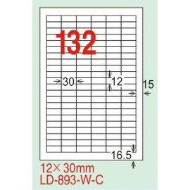 【龍德】LD-893(直角-白色) 雷射、噴墨、影印三用電腦標籤 12x30mm 20大張/包