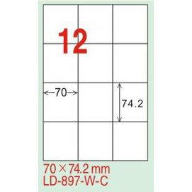 ~龍德~LD~897^(直角~可再貼^) 雷射、噴墨、影印三用電腦標籤 70x74.2mm