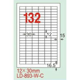 【龍德】LD-893(直角) 雷射、影印專用標籤-白銅板 12x30mm 20大張/包