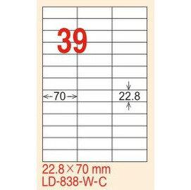 ~龍德~LD~838 直角  雷射、影印 標籤~紅銅板 22.8x70mm 20大張  包