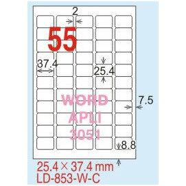 ~龍德~LD~853 圓角  雷射、影印 標籤~黃銅板 25.4x37.4mm 20大張