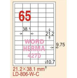 ~龍德~LD~806^(直角^) 雷射、影印 標籤~雷射透明^(可列印^) 21.2x38