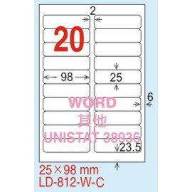 ~龍德~LD~812^(圓角^) 雷射、影印 標籤~雷射透明^(可列印^) 25x98mm