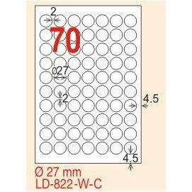 ~龍德~LD~822 圓形  雷射、影印 標籤~雷射透明 可列印  27mm圓 15大張